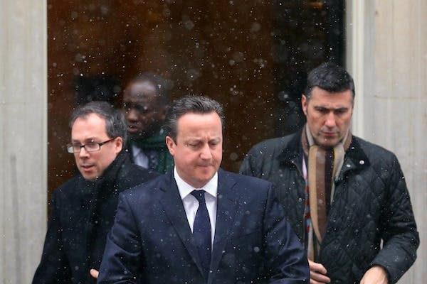 David Cameron leaves Downing Street for the Commons this morning to give his statement on the Algeria hostage crisis. Picture: Getty