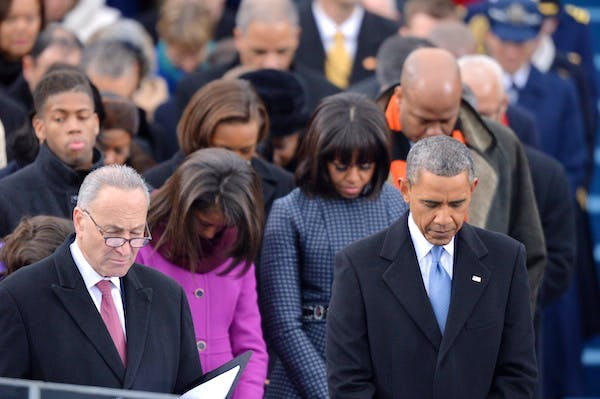 Barack Obama at his swearing-in today. Picture: Getty