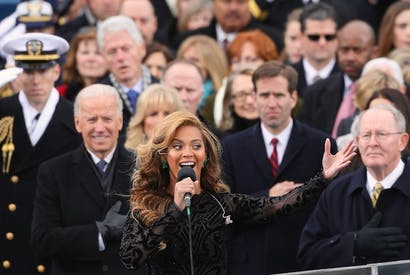 Beyonce performs at the presidential inauguration. Picture: Getty