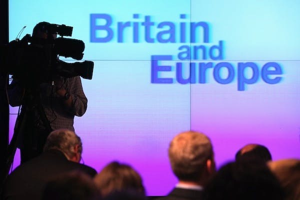 The set for David Cameron's speech this morning. Picture: Getty