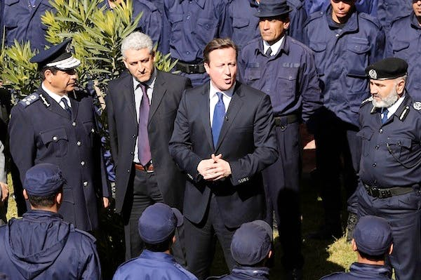 David Cameron on his visit to Libya today. Picture: Getty