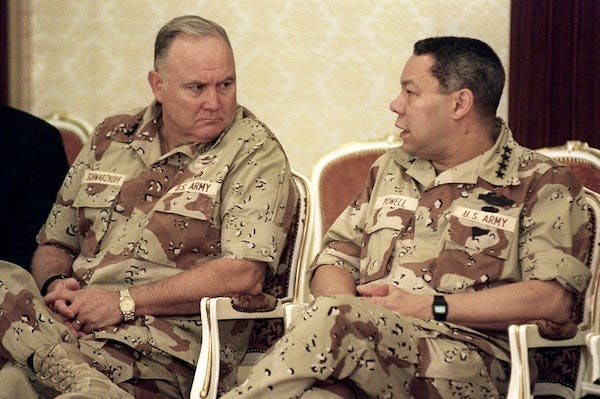 General Norman Schwarzkopf with Colin Powell. Picture: Getty