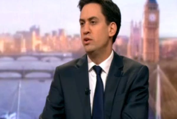 Ed Miliband speaking to James Landale this morning.