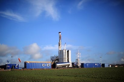 A shale gas drilling rig in Blackpool. Picture: Getty