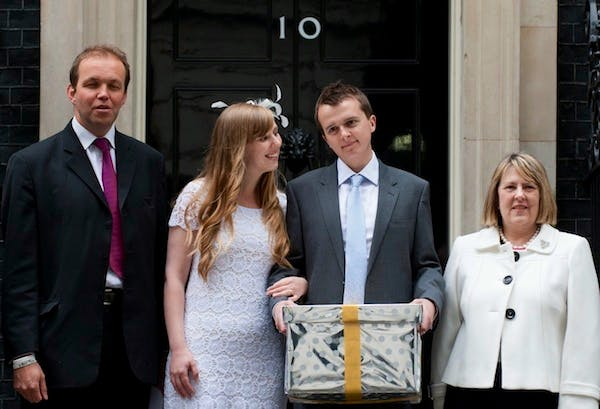 David Burrowes presenting a petition objecting to the same sex marriage bill in Downing Street last summer. Picture: Getty