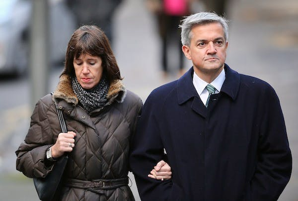 Chris Huhne arriving at court this morning. Picture: Getty
