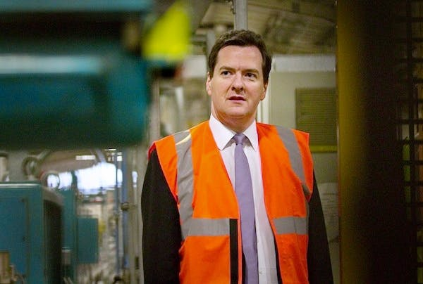 George Osborne at a factory in Eastleigh this morning. The Chancellor will need to keep his focus on the cost of living to persuade voters to stick with the Tories in 2015. Picture: Getty
