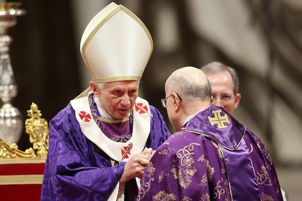 Pope Benedict XVI celebrating Ash Wednesday Mass earlier today. Picture: Getty