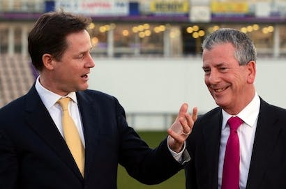 Nick Clegg and Lib Dem Eastleigh candidate Mike Thornton. Picture: Getty