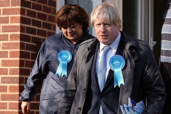 Boris Johnson campaigning in Eastleigh yesterday. Picture: Getty