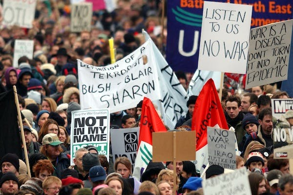 Thousands of people march along the Embankment towards Hyde Park as they participate in an antiwar protest march February 15, 2003. Picture: Getty