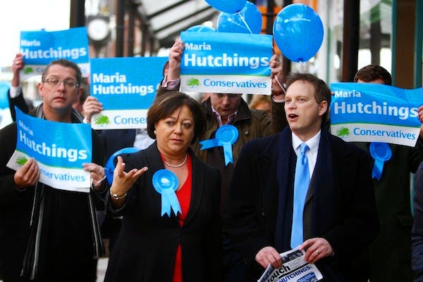 Maria Hutchings and Grant Shapps campaigning in Eastleigh. Picture: PA