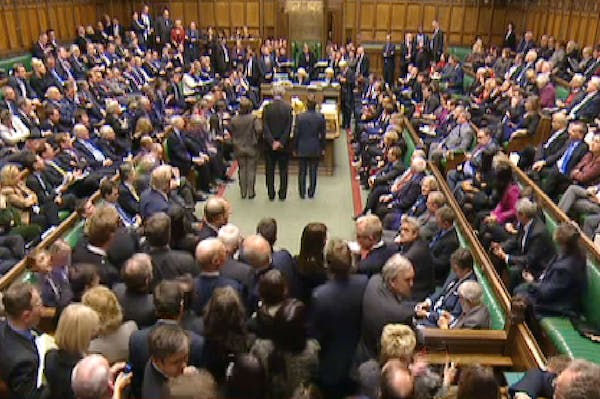MPs wait to hear the result of the vote on the second reading of the gay marriage bill.