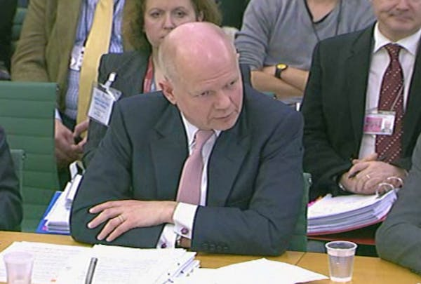 William Hague giving evidence to the Foreign Affairs Select Committee today.