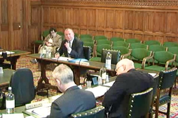 Damian McBride giving evidence to MPs this morning.