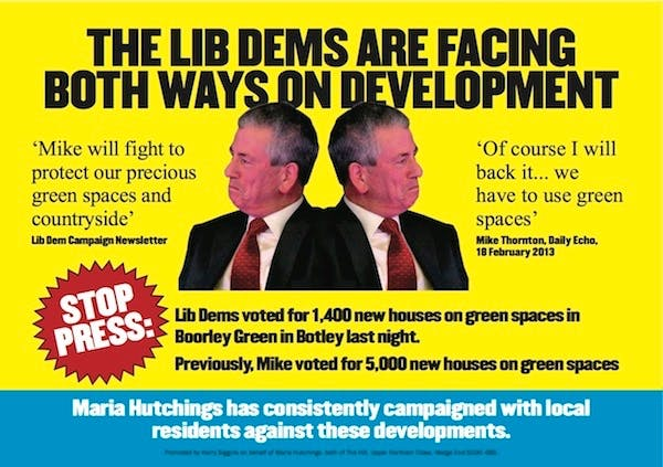 The Conservatives' latest campaign poster in Eastleigh