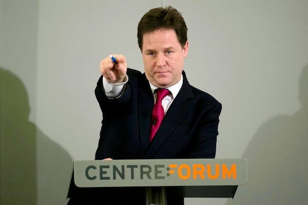 Nick Clegg giving his 'sensible' immigration speech this morning. Picture: Getty