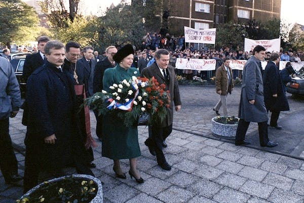 Margaret Thatcher and Solidarity leader Lech Walesa in Gdansk in 1988. Picture: Getty