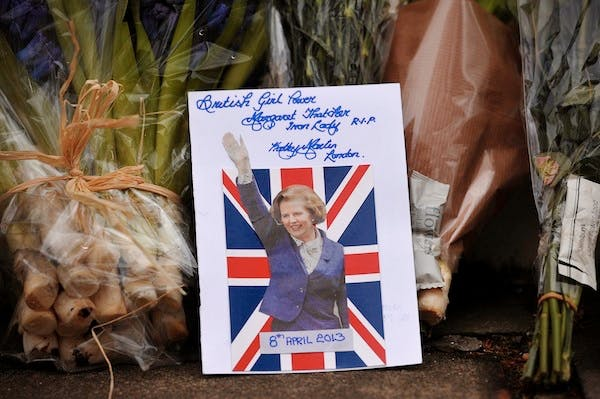 Tributes outside Margaret Thatcher's London home. Picture: Getty