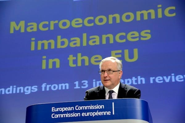 European Union Commissioner for Economic and Monetary Affairs Olli Rehn talks to the media during a press conference today. Picture: Getty