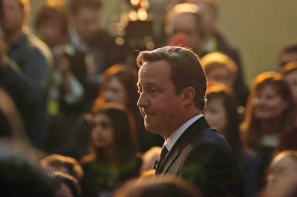David Cameron speaking at an event earlier today. Picture: Getty