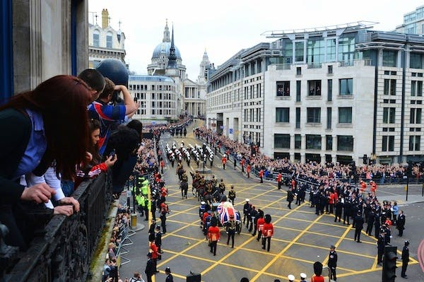 Crowds line the route of Margaret Thatcher's funeral cortege. Picture: Getty