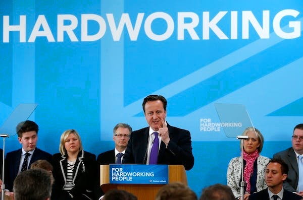 David Cameron launching the Tory election campaign today. Picture: Getty