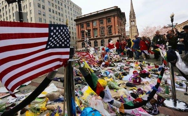 A makeshift memorial for the victims of the Boston marathon bombing. Picture: Getty
