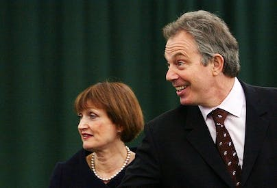 Tony Blair and Tess Jowell together. Jowell today defended her former boss. Picture: Getty