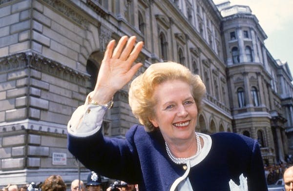 Margaret Thatcher on general election day in 1987. Picture: Getty