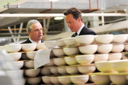 David Cameron touring a pottery in Stoke-on-Trent. Picture: PA