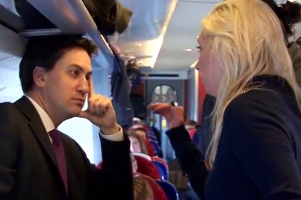 Ed Miliband in listening mode in his latest party political broadcast.