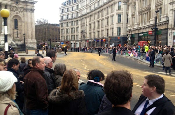 Crowds gathering earlier this morning outside St Paul's Cathedral.