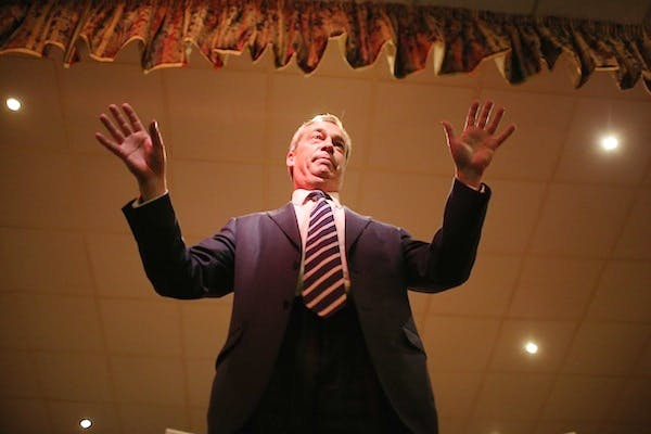 Nigel Farage campaigning earlier this week. Picture: Getty