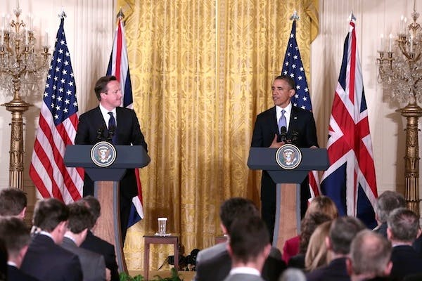 Obama and Cameron give a joint press conference this afternoon. Picture: Getty
