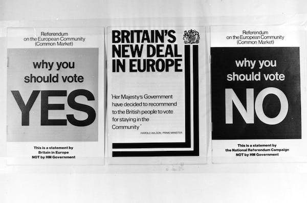 Three documents for and against Britain's membership of the Common Market in 1975. Picture: Getty