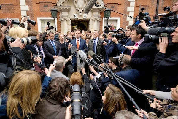 Nick Clegg speaking to the media after the 2010 general election. Picture: Getty
