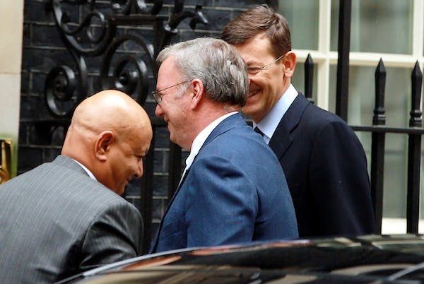 Google CEO Eric Schmidt arriving in Downing Street yesterday. Picture: Getty