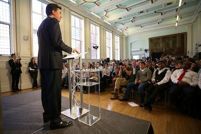 Ed Miliband announcing reforms to his party's relationship with the trade unions. Picture: Getty