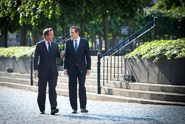 David Cameron and James Wharton walk through the grounds of Parliament ahead of the second reading of Wharton's private member's bill. Picture: PA