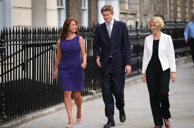 Tristram Hunt with fellow rising stars Gloria de Piero and Emma Reynolds. Picture: Getty