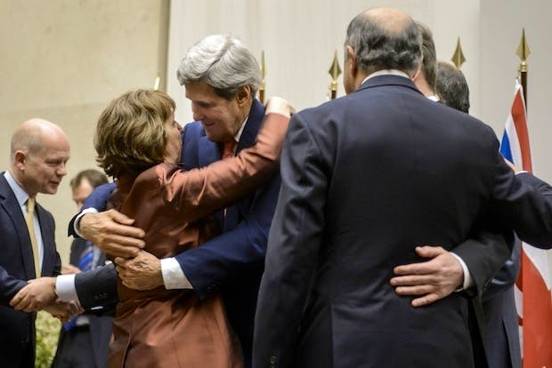 William Hague, Cathy Ashton and John Kerry celebrate this weekend's deal with Iran. Picture: Getty