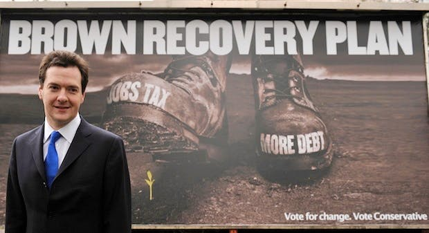 George Osborne campaigning against Gordon Brown's 'jobs tax' in 2010. Renaming National Insurance the 'Earnings Tax' would make any Labour designs on the payment less politically palatable. Picture: Getty