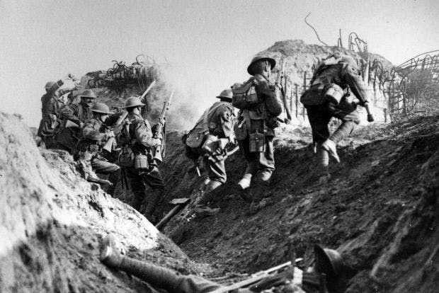 Over the top -- British soldiers in the trenches. Image: Getty
