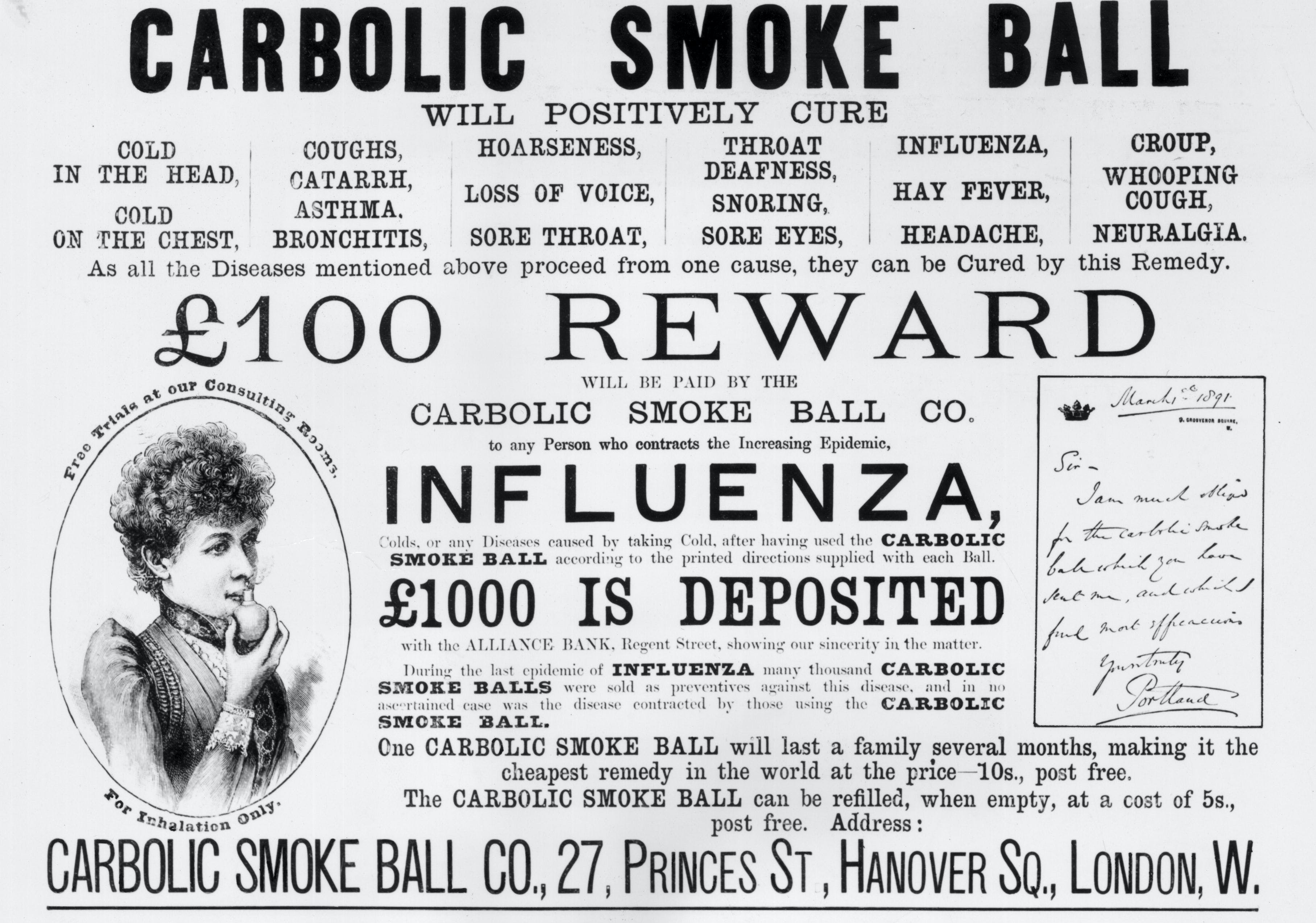 carlil vs carbolic smoke ball Carlill v carbolic smoke ball company 123 current residents of the address given in the case to enquire about the fate of the company alas, they drew a blank.