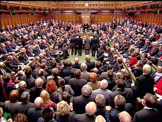 Voting takes place in the House of Commons during the Second Reading of the Higher Education Bill on 27 January 2004 which introduces controversial university tuition fees. Picture: PA