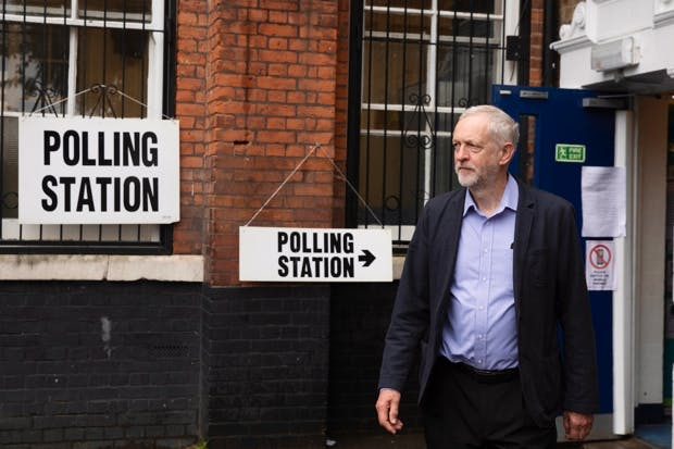Labour Party leader Jeremy Corbyn leaves after casting his vote at a polling station at Pakeman Primary School in Islington on June 23, 2016 in London, England.