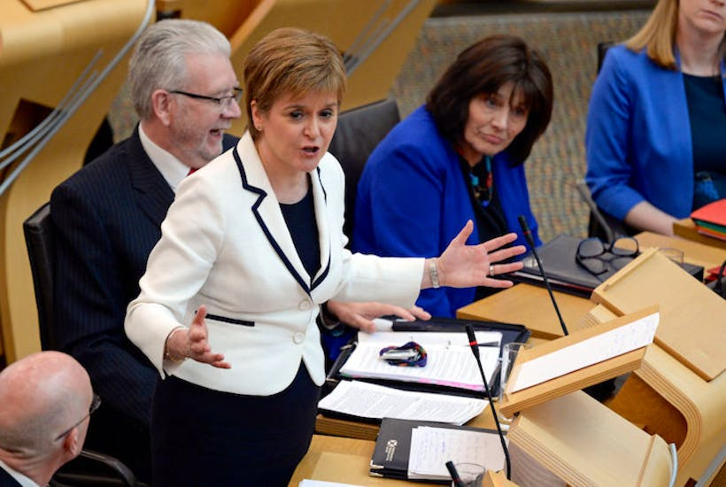 Nicola Sturgeon giving her Brexit update to the Scottish Parliament today. (Image: Getty)
